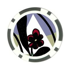 Black flower Poker Chip Card Guards