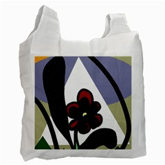 Black flower Recycle Bag (One Side)