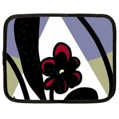 Black flower Netbook Case (XXL)