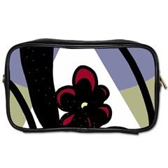 Black flower Toiletries Bags 2-Side