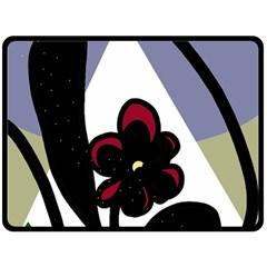 Black flower Fleece Blanket (Large)