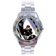 Black flower Stainless Steel Analogue Watch