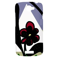 Black flower HTC One S Hardshell Case
