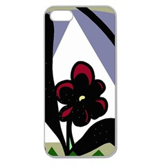 Black flower Apple Seamless iPhone 5 Case (Clear)