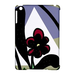 Black flower Apple iPad Mini Hardshell Case (Compatible with Smart Cover)