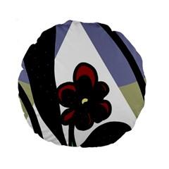 Black flower Standard 15  Premium Round Cushions