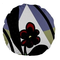 Black flower Large 18  Premium Round Cushions