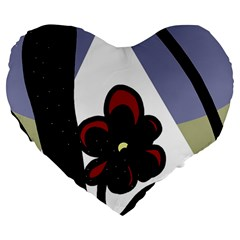 Black flower Large 19  Premium Heart Shape Cushions