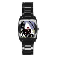 Black flower Stainless Steel Barrel Watch