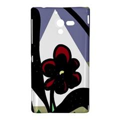 Black flower Sony Xperia ZL (L35H)