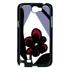Black flower Samsung Galaxy Note 2 Case (Black)