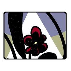 Black flower Double Sided Fleece Blanket (Small)