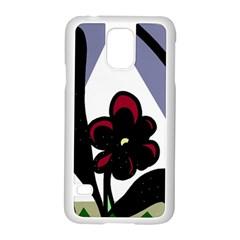 Black flower Samsung Galaxy S5 Case (White)