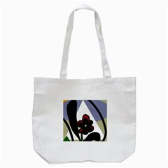 Black flower Tote Bag (White)