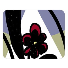 Black flower Double Sided Flano Blanket (Large)