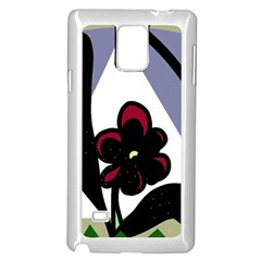 Black flower Samsung Galaxy Note 4 Case (White)