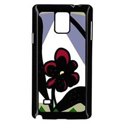 Black flower Samsung Galaxy Note 4 Case (Black)