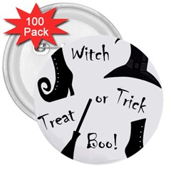 Halloween witch 3  Buttons (100 pack)