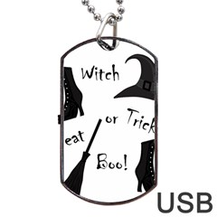 Halloween witch Dog Tag USB Flash (Two Sides)