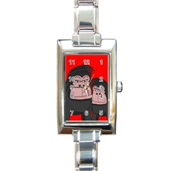 Gorillas Rectangle Italian Charm Watch