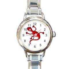 Red lizard Round Italian Charm Watch