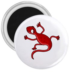 Red lizard 3  Magnets