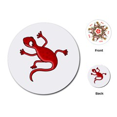 Red lizard Playing Cards (Round)