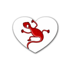 Red lizard Rubber Coaster (Heart)