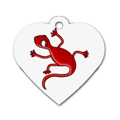 Red lizard Dog Tag Heart (One Side)