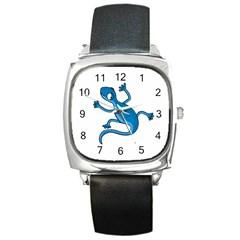 Blue lizard Square Metal Watch