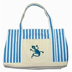 Blue lizard Striped Blue Tote Bag