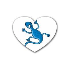 Blue lizard Heart Coaster (4 pack)