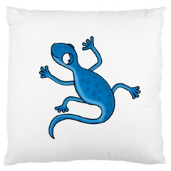 Blue lizard Large Flano Cushion Case (Two Sides)