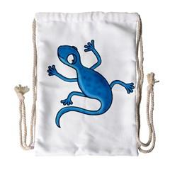 Blue lizard Drawstring Bag (Large)
