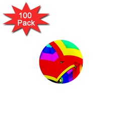 Umbrella Color Red Yellow Green Blue Purple 1  Mini Magnets (100 pack)