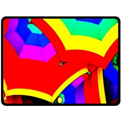 Umbrella Color Red Yellow Green Blue Purple Fleece Blanket (Large)