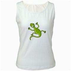 Green lizard Women s White Tank Top