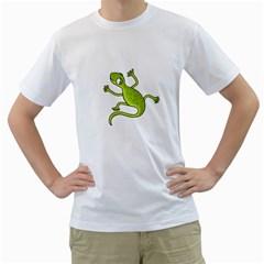 Green lizard Men s T-Shirt (White) (Two Sided)