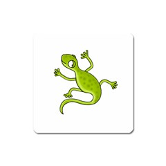 Green lizard Square Magnet