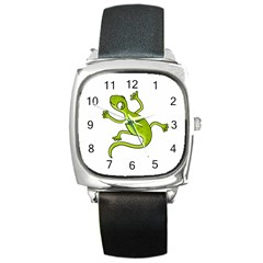 Green lizard Square Metal Watch