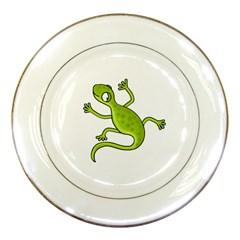 Green lizard Porcelain Plates