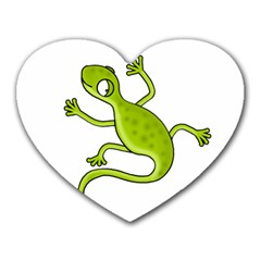 Green lizard Heart Mousepads