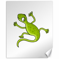 Green lizard Canvas 11  x 14