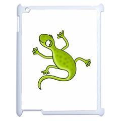 Green lizard Apple iPad 2 Case (White)