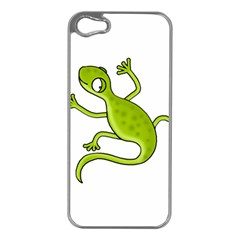 Green lizard Apple iPhone 5 Case (Silver)