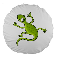 Green lizard Large 18  Premium Round Cushions