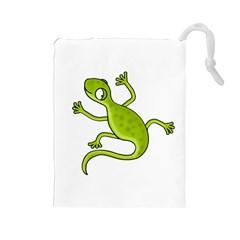 Green lizard Drawstring Pouches (Large)