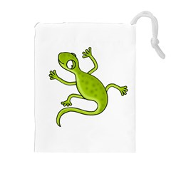 Green lizard Drawstring Pouches (Extra Large)