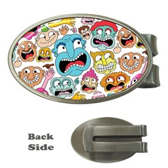 Weird Faces Pattern Money Clips (Oval)