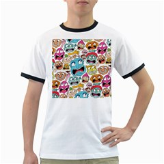Weird Faces Pattern Ringer T-Shirts